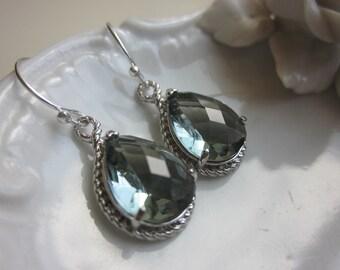 Charcoal Gray Earrings Silver Teardrop Earrings - Bridesmaid Earrings Wedding Earrings Bridal Earrings
