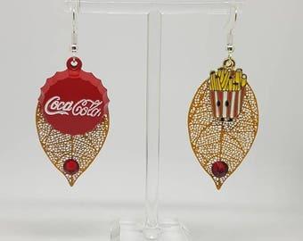 Asymmetrical earrings mustard yellow filigree prints