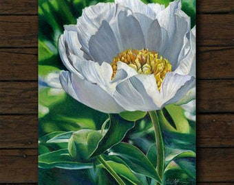 White Peony colored pencil artwork archival giclée print on cradled board with edges