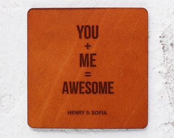 Anniversary Gift Leather Coasters, Leather anniversary Personalised gifts Leather for him Personalised leather gift for men