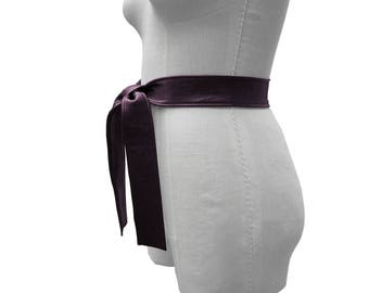 Purple Leather Belt, Leather Tie Belt, Dark Fashion, Lambskin Leather Belt, Goes with, Basic Belt Collection, Eggplant, Coat belt, SS 18