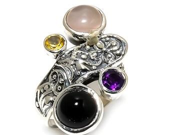 Natural Black Onyx Round Gemstone Ring 925 Sterling Silver R988