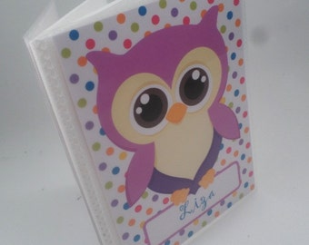 Girl photo album purple owl grandmas brag book picture 4x6 or 5x7 personalized baby shower book 181