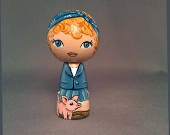 Girl with Pig  Kokeshi Peg Wooden Doll