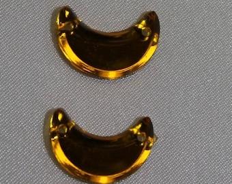 rhinestones in the shape of moon-16 mm - yellow
