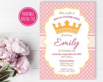 Princess birthday Invitation, Princess 1st birthday, Princess first birthday invitation, Princess party, Princess invite, Crown invitation