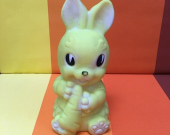 Vintage Yellow Squeaky Rabbit Toy Made in Ireland Carrot In Its Mouth