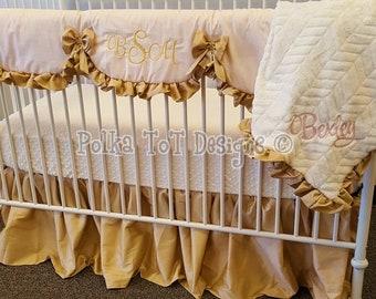 Blush & Rose Gold Bumperless Baby Bedding