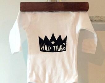 Wild Thing. hand printed baby onesie. Screenprint baby bodysuit