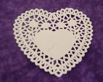 Paper Heart Doily, Scrapbooking Heart, Lattice Lace Paper Hearts, Die Cut Hearts, Scrapbooking, Showers, Weddings, Party Table Confetti,