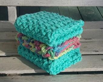 Crochet Dish cloths, wash cloths, kitchen decor.  Ready to ship!