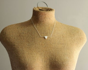 White Arrow Necklace with Oxidized Sterling Silver Bar and Chain, Minimal Design