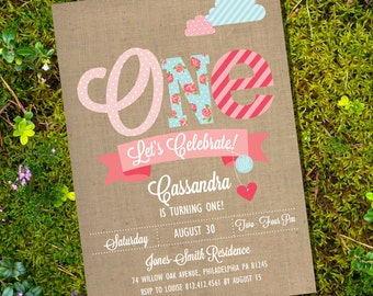 Shabby Chic First Birthday Party Invitation - Instantly Downloadable and Editable File - Personalize at home with Adobe Reader