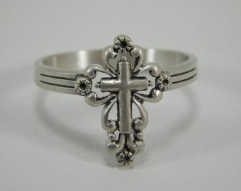 Free Engraving Womens Sterling Silver Cross Ring / Religous Ring / Statement Ring / Friendship Ring