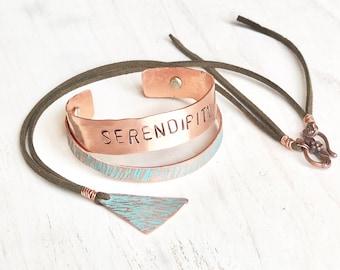 Serendipity bijoux, bijoux de cuivre de Turquoise, pour son anniversaire, cadeau d'anniversaire pour elle, bijou rustique, cadeau petite amie, de 7 ans en cuivre