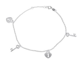 925 Sterling Silver Key and Heart Lock Anklet 10 inches