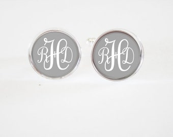 Monogrammed Cufflinks - personalized mens cufflinks - custom mens gifts - cuff links - weddings-  mens monogrammed - personalized monogram