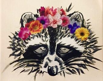 Flower Crown Raccoon