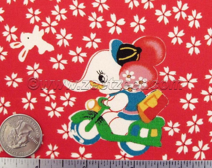 RETRO ANIMALS Red Vintage Style Japan Cotton Quilt Fabric - Japanese Import Elephants Bunny Ball
