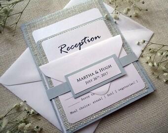 Rustic Wedding Invitation Burlap Invitation Custom Invitation Country Simple Grey Wedding Invitation