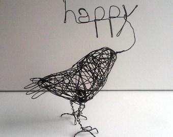 Original Handmade Wire Bird Sculpture - HAPPY BIRD