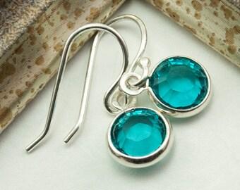 December Birthstone Earrings - Blue Zircon Earrings - December Birthday Gift - Dangle Drop Jewelry - Swarovski Crystal Earrings - Minimalist