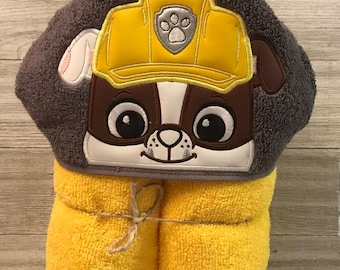 Hooded Towel, Paw Patrol Hooded Towel, Paw Patrol Bath Towel, Bath, Bathroom, Paw Patrol Towel, Rubble Hooded Towel