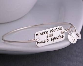 Music Jewelry, Where Words Fail Music Speaks Bangle Bracelet, Music Lover Gift, Music Note
