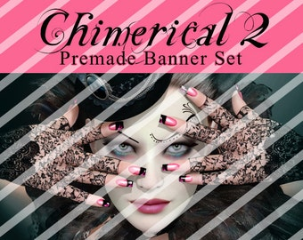 "Banner Set - Shop banner set - Premade Banner Set - Graphic Banners - Facebook Cover - Avatars - Bisiness Card - ""Chimerical 2"""