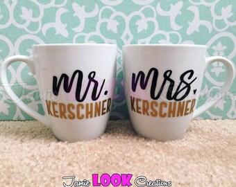 Mr and Mrs/Mr and Mr/Mrs and Mrs Mug, Mr and Mrs Mug, Mr and Mrs, Engagement Mug, Engagement Gift, Coffee Mug, Bridal Shower Gift