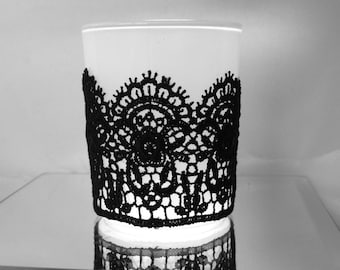 Black lace Votive Candle Holders 10 white and black Glass votive holder Black lace Wedding reception table Decor lace votive wedding decor