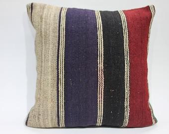 "20""x20''red kilim pillow cushion 50x50 rare adornment motif kilim striped  pillow case house decor kilim pillow loor pillow cover  1498"