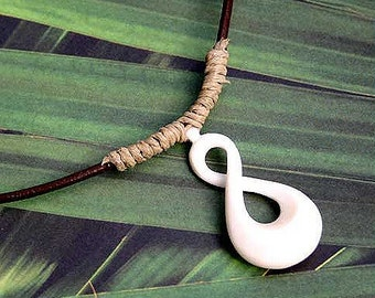 Leather Surfer Necklace With Maori Twist Pendant Carved Bone New Zealand Jewelry