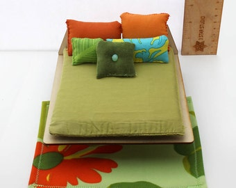 Textile Set for 1:12 scale dollhouse - Green Tiki Collection
