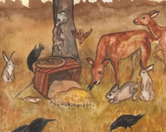 Original Art - The  Six of Crows - Watercolor Crow Painting -The Badgers Forest Tarot
