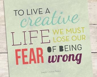 Live A Creative Life - Word Art - Typography Print