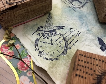 TIME FLIES Wood Mounted Rubber Stamp