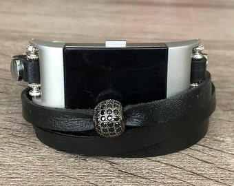 Black Leather Bracelet for Fitbit Charge 2 Tracker Handmade Adjustable Multi Wrap Fitbit Charge 2 Band Titanium CZ Ornament Mothers Day Gift