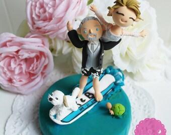 Custom Cake Topper- Surfing couple