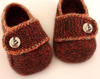 Knitting Pattern (PDF file) - Felted Shoes ( sizes 0-6/6-9/9-12/12-24/36 months)