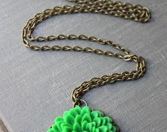Lime Green Chrysanthemum Flower Necklace