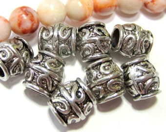 24 Metal beads antique silver spacers jewelry making Large hole beads 8mm x 7mm  no lead no nickel Bus130400-R3
