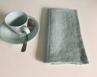 linen napkins set - Dinner linen napkin set of 4, 6, 8, 10, 12 - Softened handmade napkins - linen dinner napkins - Light turquoise.