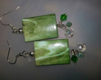 Jade n crystal earrings