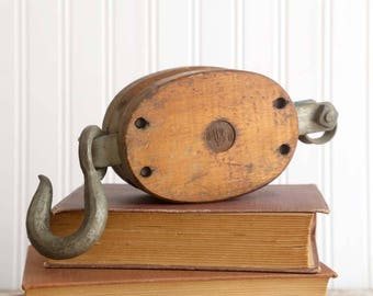 Vintage Large Pulley, Wooden Pulley, Industrial Pulley, Rustic Farmhouse Decor, Rustic Cabin Decor