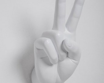 """Interior Illusions Plus - White Peace Hand - Wall Mount - Sculpture - Display Jewelry, Rings, Bracelets, Accessories - Art - 8.5"""" tall"""