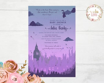 Mary Poppins Baby Shower Invitation
