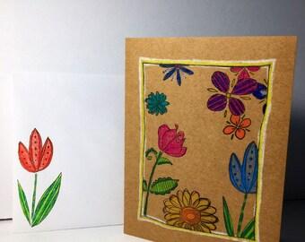 Flowers on Kraft birthday card