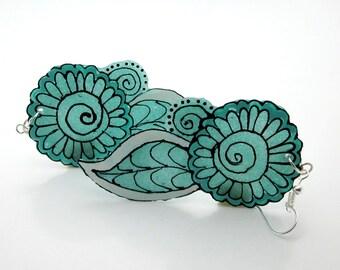 Paisley Earrings, Black Henna Tattoo Pattern, Hand Drawn Artist Jewelry, Aquamarine Glass, Petal and Leaves, Sentimental Gift