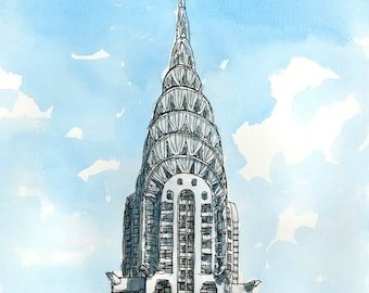 NEW YORK CHRYSLER Building art print from an original watercolor painting
